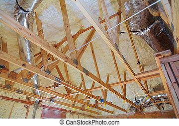 edificio, techado, ático, marco de la casa, indoor., de madera, construcción, techo, interior.