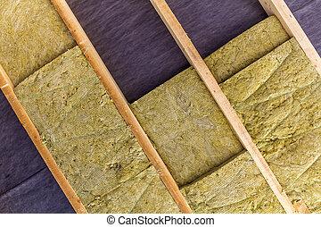 edificio, techo, instalación, mineral, ático, termal, roca, aislamiento, nuevo, lana
