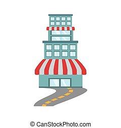 edificio, tienda, mercado, camino