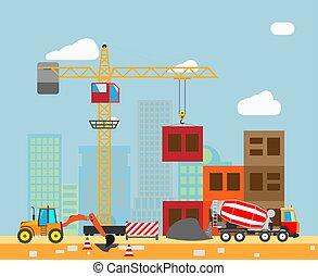edificio, trabajo, proceso, con, casas, y, construcción, máquinas, en, el, town., vector.