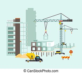 edificio, trabajo, proceso, con, casas, y, construcción, machines., vector, ilustración