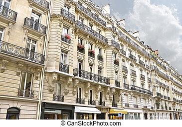 edificio, tradicional, parís, francia, céntrico, fachada