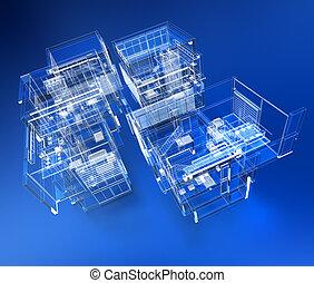 edificio, transparente