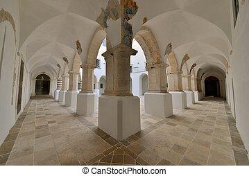 edificio, un, colonnato, storico, di