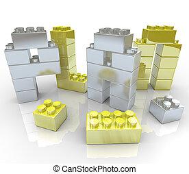 edificio, un, plan, -, juguete bloquea