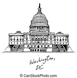 edificio, unido, capitolio, cc, estados, washington