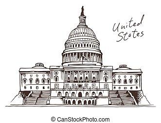 edificio, unido, capitolio, ilustración, estados, vector
