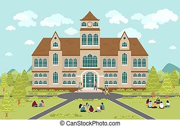 edificio, universidad, colegio, o