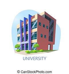 edificio, universidad, construcción, educación, o