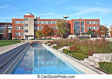 edificio, universidad, reflejar, campus, piscina