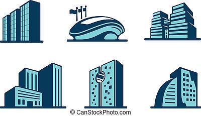 edificio, vector, conjunto, 3d, iconos