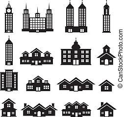 edificio, vector, conjunto