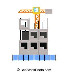 edificio, vector, proceso, ilustración, construcción, multistory