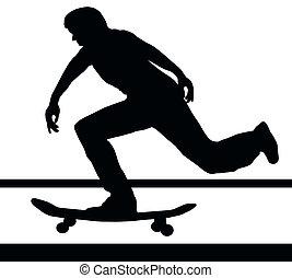 edificio, velocidad, arriba, el skateboarding