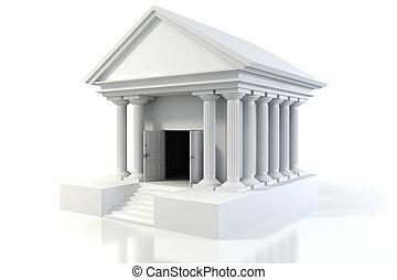 edificio, vendimia, plano de fondo, blanco, icono, banco, 3d