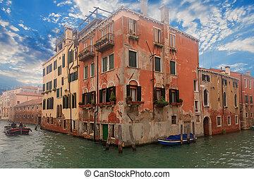 edificio, venecia, canal, barco