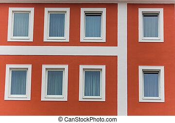 edificio, ventana, apartamento