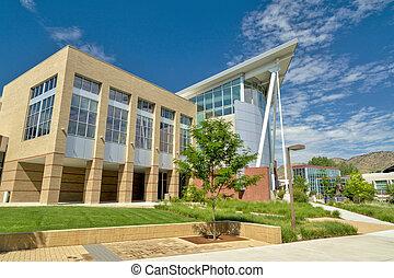 edificio, verano, escuela, campus de la universidad