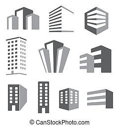 edificio, verdadero, estado, vector, iconos