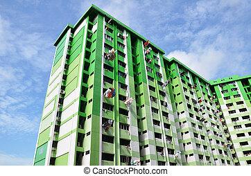 edificio, verde azul, cielo