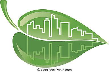 edificio, verde