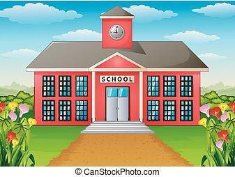 edificio, verde, eduque yarda, caricatura