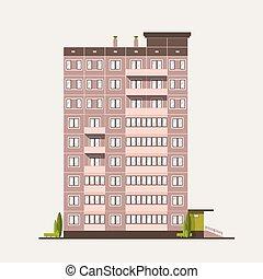 edificio, vida, illustration., construido, colorido, urbano, casa, moderno, aislado, plano, prefabricado, fondo., vector, ciudad, arquitectura, arquitectónico, blanco, multistory, style., construction., panel