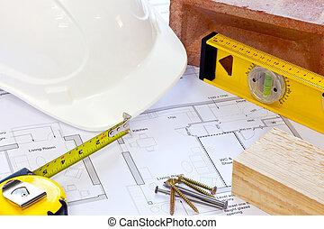 edificio, vida, todavía, herramientas, planes