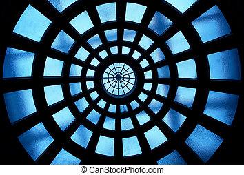 edificio, vidrio, dentro, techo