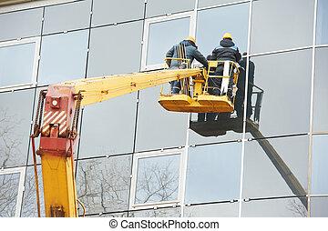 edificio, vidrio, trabajadores, ventana, instalación