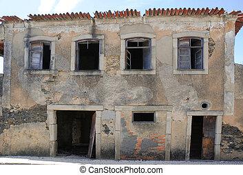 edificio, viejo, abandonado