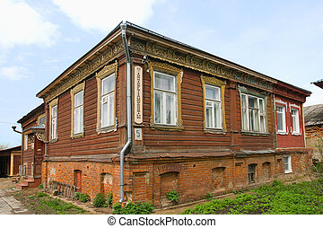 edificio, viejo, de madera, apartments!, yuriev-polsky, ...
