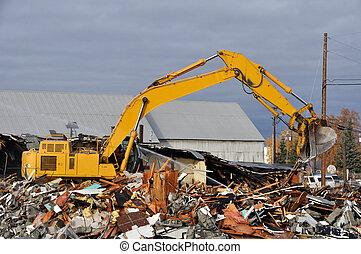 edificio, viejo, demolición