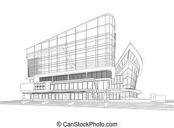 edificio, wireframe, 3d