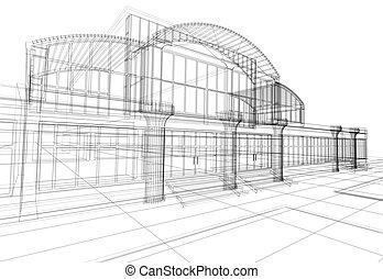 edificio, wireframe, oficina