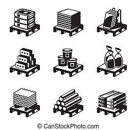 edificio, y, construcción, materiales