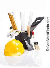 edificio, y, equipo construcción