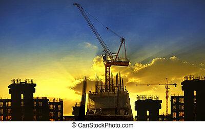edificio, y, grúa, construcción, sentarse