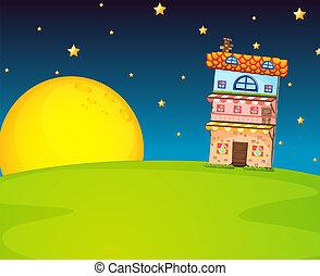 edificio, y, luna