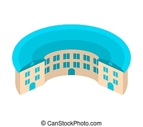 edificio, yard., house., emblem., arquitectura, único, circular redonda