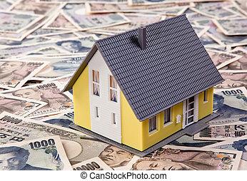 edificio, yen, casa, moneda extranjera, préstamos
