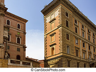edificios, actuación, estilo, rome., tradicional, arquitectónico, italiano, vista
