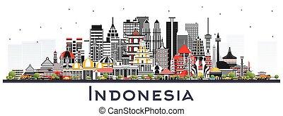 edificios, aislado, white., contorno, gris, indonesia, ...