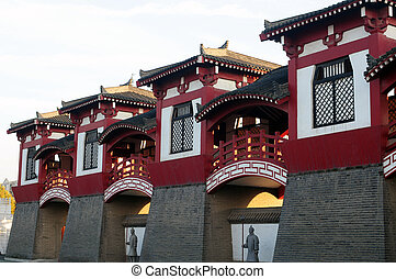 edificios, antiguo, chino