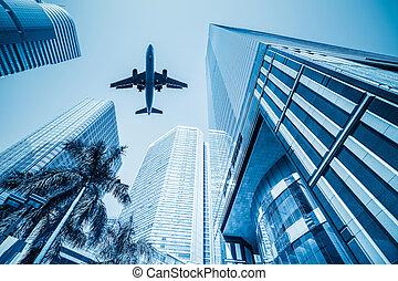 edificios, avión, empresa / negocio