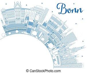 edificios, azul, contorno, alemania, bonn, perfil de ciudad...