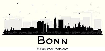edificios, bonn, negro, aislado, alemania, perfil de ciudad...