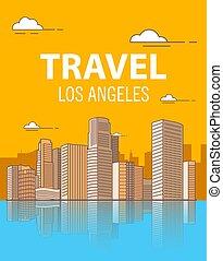 edificios, cartel, travel., skyscrapers.coastal, angeles, ...