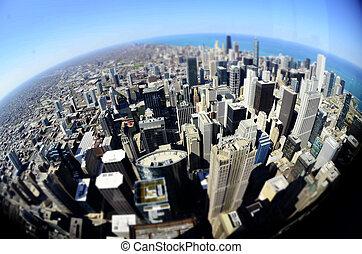 edificios, chicago, céntrico, mundo, redondo, fisheye
