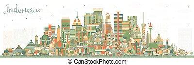 edificios., color, contorno, indonesia, ciudades